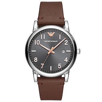 Emporio Armani Ar11175 Black Dial Brown Leather Strap Men's Watch