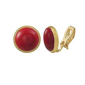 Eternal Collection Symphony Red Coral Gold Stud Clip On Earrings