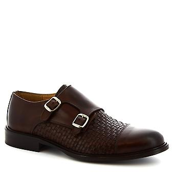 Leonardo Shoes Men's handmade double monks loafers dark brown woven leather