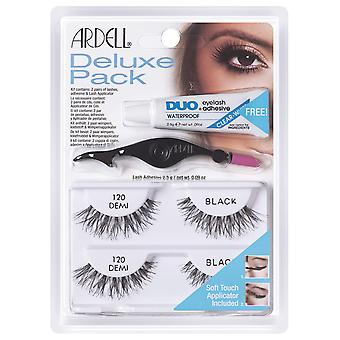 Ardell Deluxe Pack Lashes 120 Black Strip Eyelashes With Applicator Tool & Glue