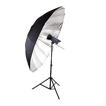 BRESSER SM-09 Jumbo refleks paraply sølv/sort 180 cm
