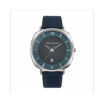 Trendy Classic WATCH CC1042-05 - Phantom Dateur Bo tier Steel Silver Leather Bracelet Blue Black Dial