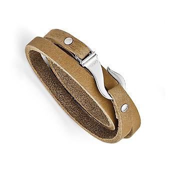 Stainless Steel Polished Hook clasp Light Brown Leather Wrap Bracelet