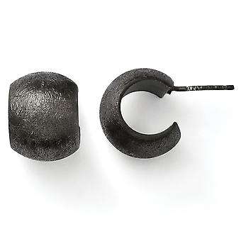 Ruthenium plating and Ruthenium Plated Scratch Finish Post Earrings - 5.9 Grams