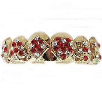 Grillz Gold Poker Iced Out Ruby N Clear Diamond [Top]