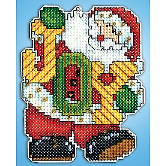 Joy Santa Ornament Plastic Canvas Kit 14 Count Dw566