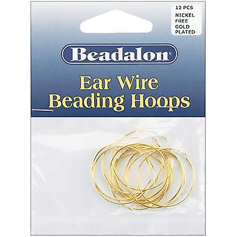 Ear Wire Beading Hoops Medium 25Mm 12 Pkg Gold Plated Nickel Free 308A 104