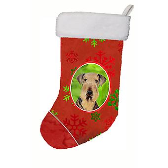 Airedale Red and Green Snowflakes Holiday Christmas Christmas Stocking SC9413