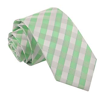 Mint Green Gingham Check Slim Tie