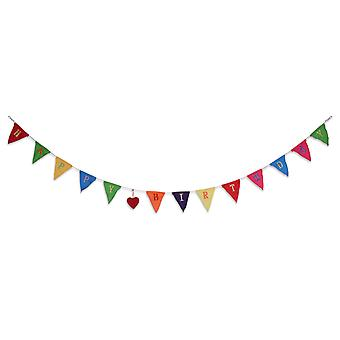 2m lange 'Happy Birthday' farvestrålende flagdug Garland