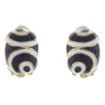 Clip auf Ohrringe Store blau und weiß Emaille-halb Hoop Clip auf Ohrringe