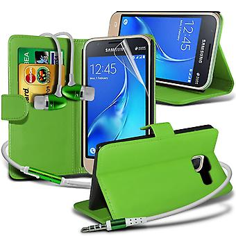 i-Tronixs Samsung Galaxy J5 2016   PU Leather Wallet Classic Flip Case Cover + Earphone -Green