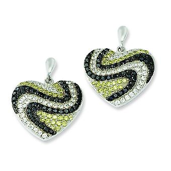 Sterling Silver Dangle Rhodium-plated and Cubic Zirconia Brilliant Embers Heart Post Earrings