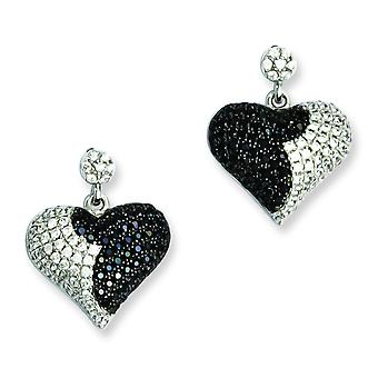 Sterling Silver Pave Black Rhodium-plated and Cubic Zirconia Brilliant Embers Heart Dangle Post Earrings
