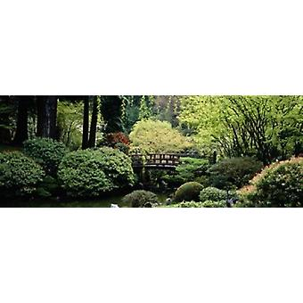 Panoramic view of a garden Japanese Garden Washington Park Portland Oregon Poster Print