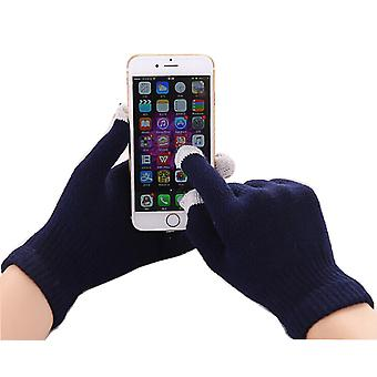 ONX3 Wiko Rainbow Universal Unisex One Size Winter Touchscreen Gloves For All Smartphones / Tablets (Navy Blue)