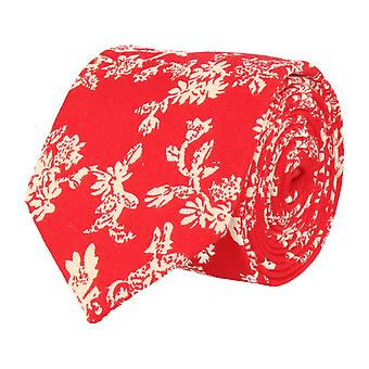 Snobbop narrow tie Club tie floral Red