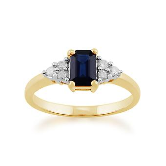 Gemondo 9ct Yellow Gold 0.88ct Octagon Blue Sapphire & Diamond Ring