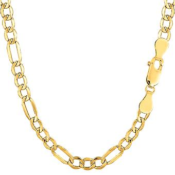 10k Yellow Gold Hollow Figaro Bracelet Chain, 4.6mm, 7