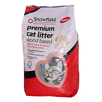 Snefnug træbaserede Premium kattegrus - 15ltr