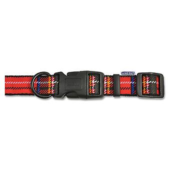 Indulgence Nylon Adjustable Collar Tartan Red 20-30cm Sz 1-2
