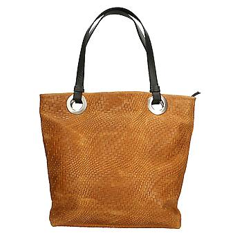 CTM women's shoulder bag with large Print genuine leather Braided Handles Made in Italy ï ¿40x34x10 .5 Cm