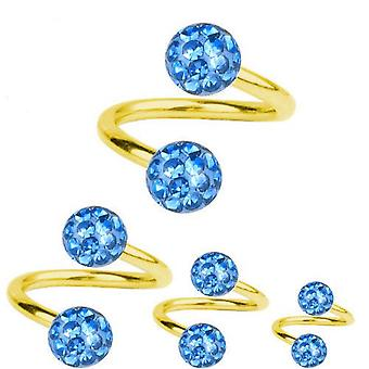Spiral Twist Piercing Gold Plated Titanium 1,2 mm, Multi Crystal Ball Light Blue | 6-12 mm