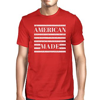 American Made Mens Red Crewneck T-Shirt Gifts Ideas For 4th Of July