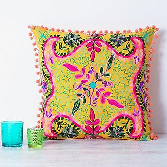 Boutique Camping Embroidered Suzani Square Cushion - Yellow