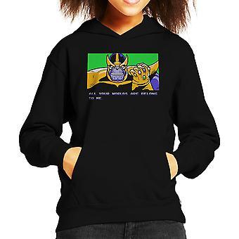 あなたの世界は、すべて私はサノス ゼロ翼子供のフード付きスウェット シャツに属しています。