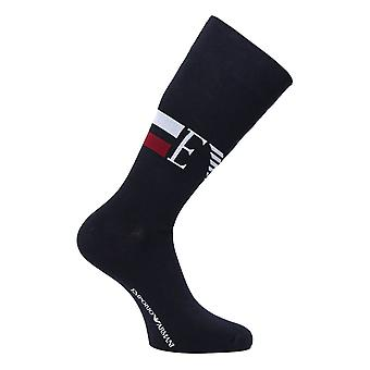 Emporio Armani Two Pair Navy Logo Stretch Cotton Socks