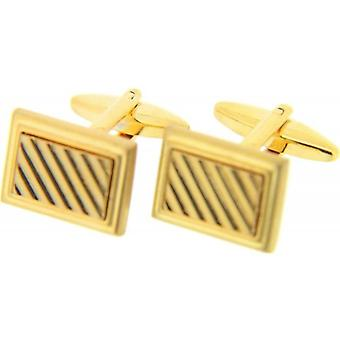 David Van Hagen Rectangular Grill Cufflinks - Gold