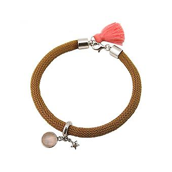 Women - bracelet - 925 Silver - gemstone - Rose Quartz - STAR - Star - Pink - Brown