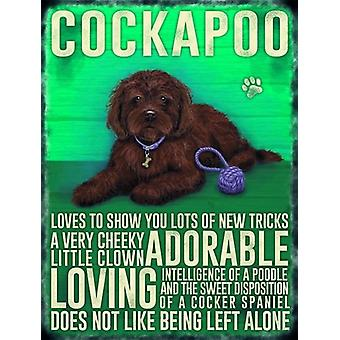 Large Wall Plaque 400mm x 300mm - Brown Cockapoo