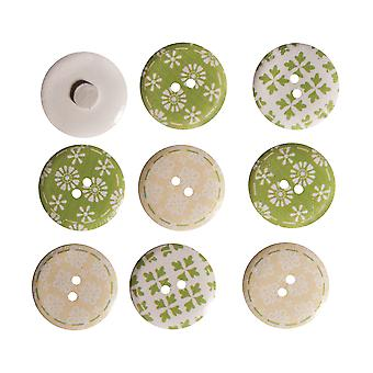 9 Painted Self Adhesive Wooden Buttons Spring Green