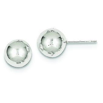 Sterling sølv indlæg øreringe poleret 10mm kugle øreringe - 3,3 gram