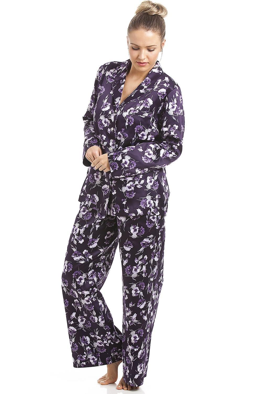 Camille Lilac Floral Print Purple Satin Pyjama Set