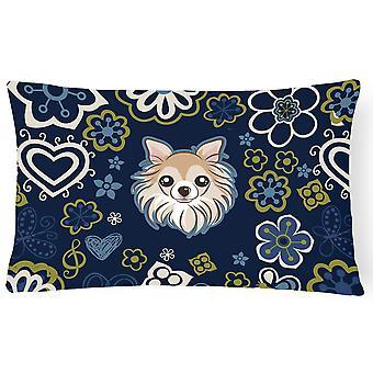 Niebieskie kwiaty Chihuahua płótnie tkaniny dekoracyjne poduszki