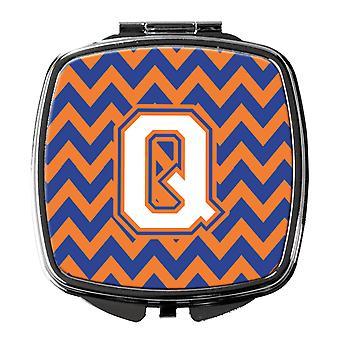 Letter Q Chevron Blue and Orange #3 Compact Mirror