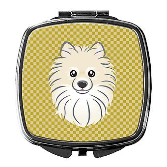 Carolines Treasures  BB1135SCM Tan Checkered Pomeranian Compact Mirror