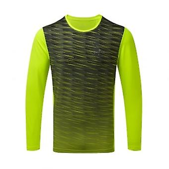 Stride Mens Long Sleeved Running T-shirt Fluo Yellow