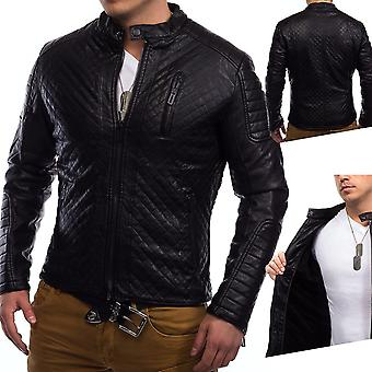 Mens winter leather jacket Coby Biker jacket faux leather quilted lined