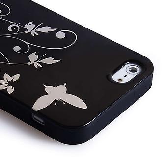 Estuche de Gel de mariposa iPhone 5 - negro / plata