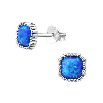 Square - 925 Sterling Silver Opal And Semi Precious Ear Studs - W27010x