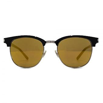 Saint Laurent SL 108 Surf Browline Style Sunglasses In Black Gold Mirror