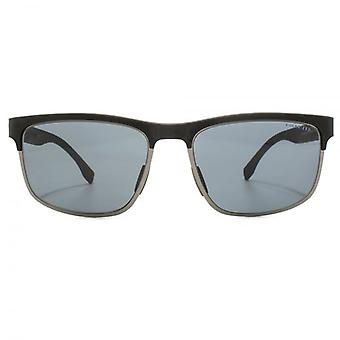 Hugo Boss Active Half Rim Sunglasses In Carbon Black Polarise
