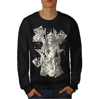 Knight Warrior mannen-BlackSweatshirt | Wellcoda