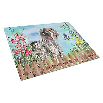 German Shorthaired Pointer Spring Glass Cutting Board Large