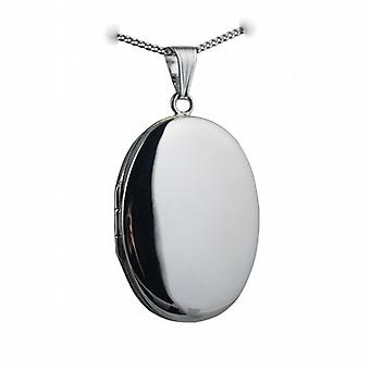 Silver 35x26mm plain oval Locket with a curb Chain 24 inches