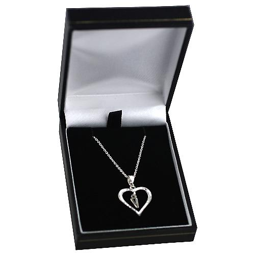Silver 18x18mm initial V in a heart Pendant with a rolo Chain 14 inch Only Suitable for Childrenes